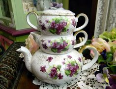 Lefton China Hand Painted Stacking Teapot Tea by TheVintageTeacup, $79.00
