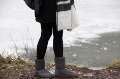Winter outfit with plaid scarf