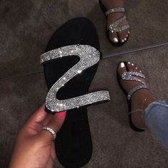 Women Slippers Sandals Summer Open Toe Slides Rhinestone Non-slip Flat Sandals Women Flip Flops Ladies Roman Beach Shoes Bling Sandals, Sparkly Sandals, Cute Sandals, Cute Shoes, Flat Sandals, Pretty Sandals, Stylish Sandals, Studded Sandals, Flat Shoes