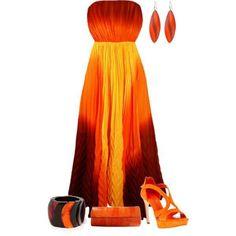 fiery orange dress