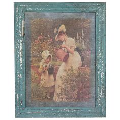 Rustic Mother and Child Garden Framed Painting Print