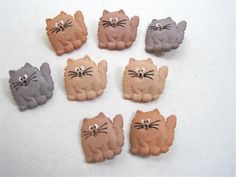 Fat Cats Craft Novelty Sewing Buttons Dress It Up by FireflyCabin, $2.30