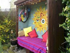 Best and Wonderful 10 Hippie Black Garden Ideas – Home Decor Ideas Hippie Home Decor, Bohemian Decor, Diy Home Decor, Pintura Hippie, Hippie Garden, Design Creation, Black Garden, Yard Art, Home Design