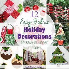 12 Easy Holiday Decorations to Sew in Under an Hour - Cucicucicoo Diy Christmas Tree Skirt, Fabric Christmas Trees, Felt Christmas Ornaments, Christmas Sewing, Diy Christmas Gifts, Christmas Projects, Handmade Christmas, Xmas, Easy Holiday Decorations