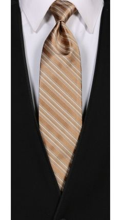 Bronze Cravat Striped Tie.  Available at #FriarTux
