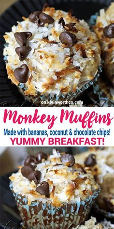Monkey Muffins are a delicious banana muffin recipe, loaded with coconut & choco. Monkey Muffins are a delicious banana muffin recipe, loaded with coconut & chocolate chips! These make the perfect breakfast to make your day happy! via Kleinworth & Co. Köstliche Desserts, Delicious Desserts, Yummy Food, Delicious Chocolate, Plated Desserts, Breakfast And Brunch, Perfect Breakfast, Muffin Tin Breakfast, Breakfast Cupcakes