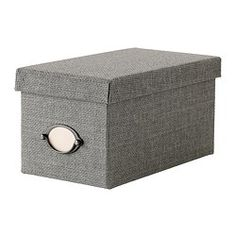 """IKEA - KVARNVIK, Box with lid, gray, 6 ¼x11 ½x6 """", , Suitable for storing your CDs, games, chargers or desk accessories.The included label holder helps you to create an overview to quickly find your things."""