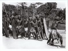 Ethnographic Arms & Armour - Period Photos of People with Ethnographic ArmsBand of warriors (Congo)
