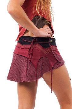 *** BEAUTIFUL DESIGN ***  A super sexy micro mini skirt made of beautiful layers of crochet, cotton, braid and corduroy.  It features a dinky little
