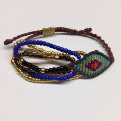 Brown, turquoise and purple macrame eye bracelet with beads