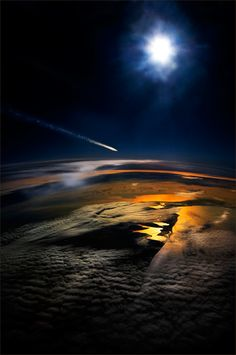 An aerial shot of a meteor shooting through the sky. Beautiful!