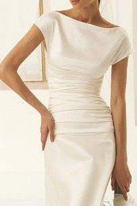 Simple wedding dress. Nice for a mature or conservative bride. Possibly a nice dress for someone getting married for the second time yet still wants to feel elegant.