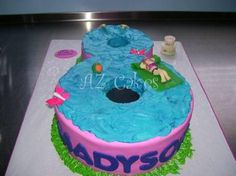 Pool Party Cake A fun way to celebrate your birthday with a pool party cake in the shape of your age! Notice the hands at the deep end of the pool, the bathing beauty is hand molded also. Available in a variety of sizes and colors.