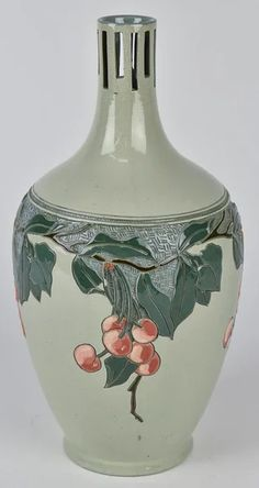 Carved cherry branches with fruit on pale green ground with cut-out designed neck. on Jan 2020 Roseville Pottery, Pottery Vase, Vase Centerpieces, Bud Vases, Green Ground, Artist Signatures, Antique Auctions, Ceramic Vase, Yellow Flowers