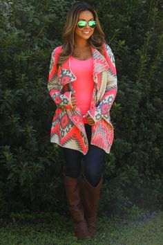 Neon Native Cardigan: Gray/Neon Pink #shophopes