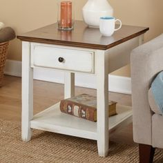 The Charleston End Table from Simple Living is a delicately understated piece with classic style, complete with a distressed chestnut finished table top supported by a distressed off-white base that is versatile enough for a Space Furniture, Furniture Deals, Living Room Furniture, Home Furniture, Furniture Outlet, Online Furniture, Cheap Furniture, Dining Rooms, Distressed End Tables