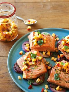 {Grilled salmon and red onions with nectarine salsa.}