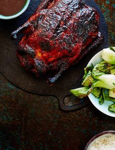 This tender and sticky duck serves four and would make for a great centre pieces for a casual dinner party. Get everyone involved and carve this one on the table before you serve it up with basmati rice and pak choy