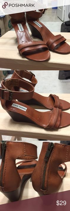 Steve Madden Tan Wedge Sandals Used size 7.5 tan leather wedge sandals. Steve  Madden Shoes