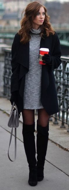 Nice Sweater Dress Fashion Trends Daily - 34 Chic Winter Outfits On The Street 2016 Fashion Mode, Look Fashion, Fashion Outfits, Womens Fashion, Fashion Trends, Fashion Tips, Dress Fashion, Fall Fashion, Trendy Fashion