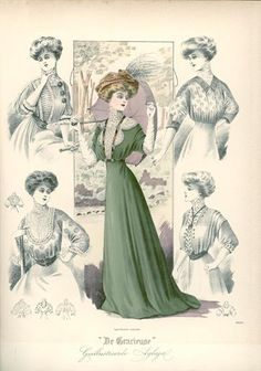 De Gracieuse, July 1908, Fashion Plate with Edwardian shirtwaist or blouse