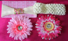 Set 2 pink flower clips and 2 interchangeable by MemoriesbyMandi, $15.00 coupon code PINTREST FOR 10% OFF