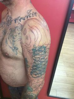 Koi cover up started by KAIJU tattoo