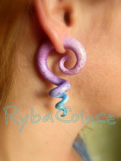 Fake ear tentacle gauge - Faux gauge/Gauge earrings/Tentacle plug/tentacle…