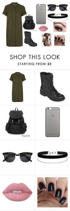 """Untitled #301"" by taco-bell-love ❤ liked on Polyvore featuring Topshop, Arizona, Native Union, Miss Selfridge, Lime Crime and shirtdress"