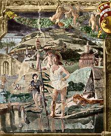 Bono da Ferrara - San Cristoforo traghetta Gesù Bambino. Capella Ovetari.