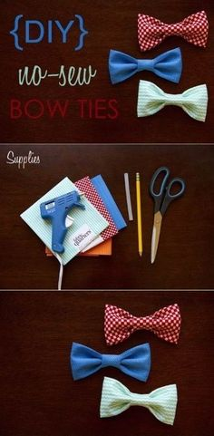 Who doesn't love a colorful bowtie? | 41 Awesomely Easy No-Sew DIY Clothing Hacks I have everything at home, that I can try this today. IF it goes over well, I want to do the boys bowties like this.