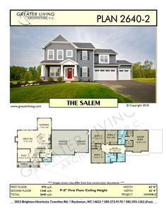 Plan 2640-2: THE SALEM- Two Story House Plan - Greater Living Architecture - Residential Architecture Two Story House Plans, Two Story Homes, Home Design Floor Plans, Architectural Design House Plans, Interior Design Sketches, Farmhouse Remodel, Second Story, House Layouts, Residential Architecture