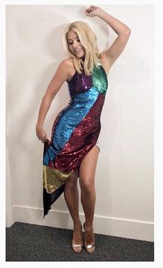 Holly Willoughby Stuns In Rainbow Sequin Dress On Dancing On Ice Sequin Dress, Strapless Dress, Prom Dresses, Formal Dresses, Holly Willoughby Feet, Chic Outfits, Tie Dye Skirt, Sequins, Style Inspiration