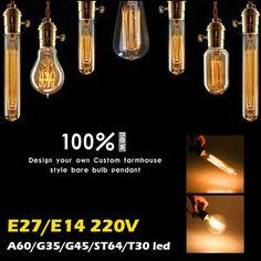 E14/E27 4W 6W 8W Vintage Antique Edison Filament COB LED Light Bulb Lamp 85-265V