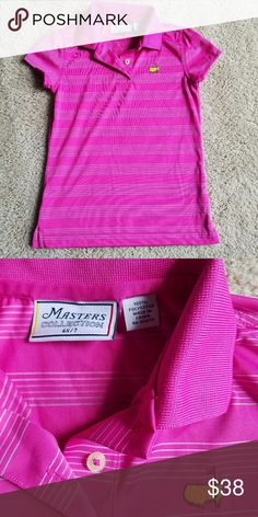Girl's Master's Golf Polo Pink and white striped golf puzzle from the Masters collection for little girls size 6x. Excellent condition! Master's Collection Shirts & Tops Polos