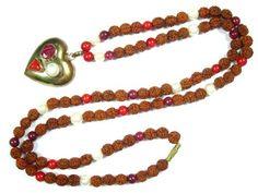 Yoga Mala- Rudraksha Seeds, Coral, Pearl , Ruby Stone Prayer Heart Necklace Meditation Gift