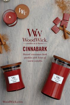 Shaved cinnamon bark sparkling with hints of warm vanilla. WoodWick® candles use a natural, wooden wick that creates the soothing sound of a crackling fire #cinnabark #cinnamon #spice #fragrance #woodwick #candle #crackles