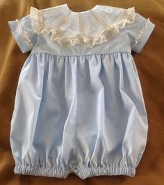 Boy Bubble with Scalloped Lace Collar with Hand by CatherynCollins