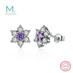 Genuine Real 925 Sterling Silver Wedding Engagement Stud Earrings Forget Flower Earrings With Clear CZ Jewelry for Women Gift