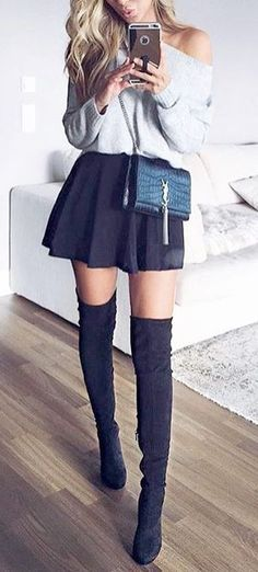 #outfits #fall #fashion Off Shoulder Sweater // Black Skirt // Over Knees Boots