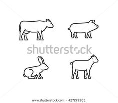 Vector black outline farm animals. Line silhouettes cow, pig, rabbit and goat isolated on white.
