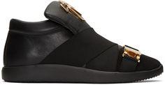 Giuseppe Zanotti - Black Crossover Strap Slip-On Sneakers