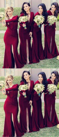 2605c6f4385 Long Sleeves Open Back Mermaid V-neck Bridesmaid Dresses M5083