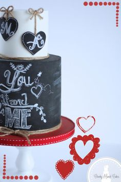 Valentines Chalkboard Cake - Cake by AC Saldua - CakesDecor Fondant Cake Designs, Fondant Cakes, Cupcakes, Cupcake Cakes, Bolo Chalkboard, Wedding Cake Cookies, Valentines Day Cakes, Homemade Birthday Cakes, Funny Cake