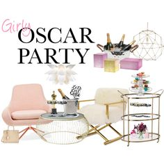 Girly Oscar Party by fashionablehostess on Polyvore featuring interior, interiors, interior design, home, home decor, interior decorating, Mitchell Gold + Bob Williams, Arteriors, Match and Culinary Concepts