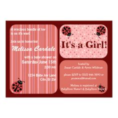 Pink Red Ladybug Baby Shower Invitations Girl SOLD on Zazzle