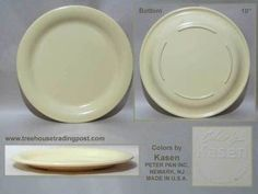 Peter Pan Colors by KASEN 10 Inch Dinner Plate Melamine Melmac Pale Yellow & Melamine Melmac Dinner Plates Pink Roses Blue Flowers. $17.50 via ...