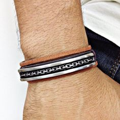 Pulseira masculina couro bridão mens bracelets style fashion cocar brasil