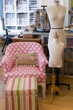 pretty pink polka dot chair and striped ottoman