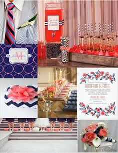 Pink Cupcake Weddings--all time most popular pins; coral and navy wedding color inspiration board